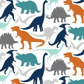 Little Dinosaur Friends- Navy Orange Grey