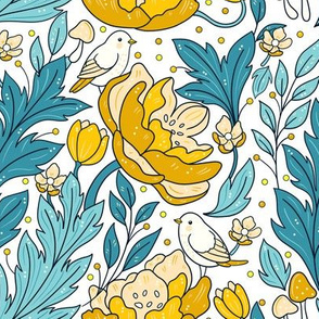 Art nouveau in yellow and white