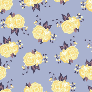 Soft Yellow Roses on Purple seamless pattern background.