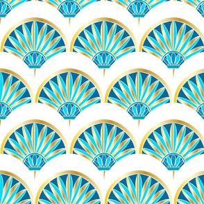 Art Deco Fan Pattern White