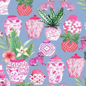 pink  ginger jar , slate blue Chinoiserie fabric and wallpaper chinese jars Chinoiserie