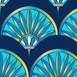 Art Deco Fan Pattern Blue