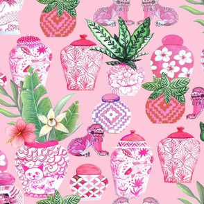 Chinoiserie Ginger Jar Collection In Pink