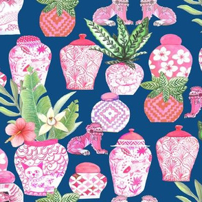 pink  ginger jar classic blue Chinoiserie fabric and wallpaper chinese jars Chinoiserie