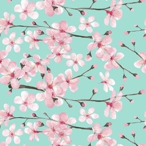 pink cherry blossom in watercolor on mint