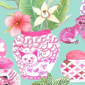 Chinoiserie Ginger Jar Collection In mint and pink