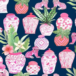 pink  ginger jar midnight blue  Chinoiserie fabric and wallpaper chinese jars Chinoiserie