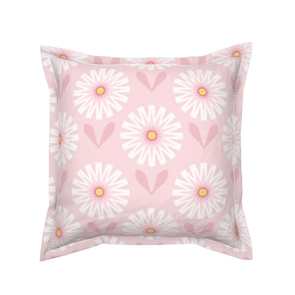 Serama Throw Pillow featuring Daisies on Pale Pink by twigged