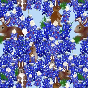 Bunnies in the Blue Bonnets