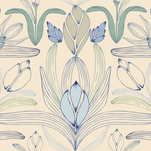 Art Nouveau Inspired Floral Cream - large scale