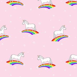 unicorns + rainbows (pink) // kids playful print
