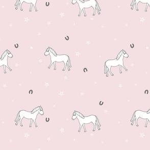 white ponies (blush) // kids print