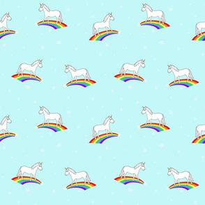 unicorns + rainbows (aqua) // kids print