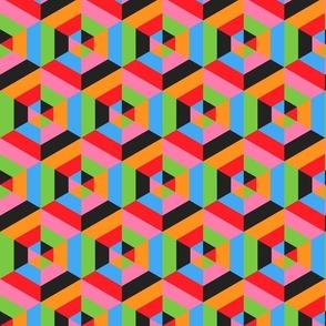 Retro 70s Kitsch party herringbone colorful hexagons Wallpaper Fabric