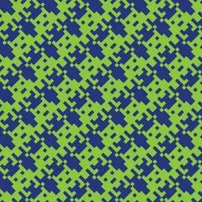 Houndstooth Invader in classic Blue and Lime Green