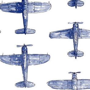 Blue Watercolor Airplanes
