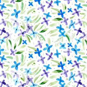 Pretty little blue and purple flowers ★ watercolor florals for modern home decor, bedding, nursery