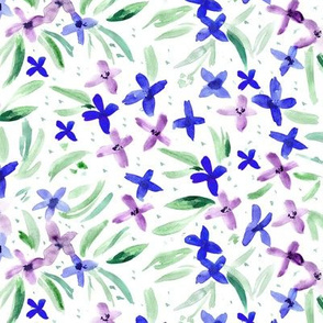 Watercolor little flowers in blue and purple ★ painted florals for modern home decor, bedding, nursery