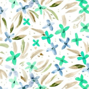 Watercolor little aqua flowers ★ painted floral for modern home decor, bedding, nursery