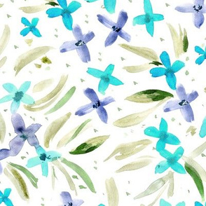 Little flowers in aqua and indigo ★ watercolor floral for modern home decor, bedding, nursery