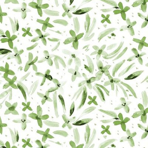 Kelly green watercolor little flowers - wildflowers for modern home decor, bedding, nursery