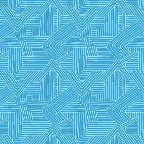 Little Maze stripes minimal Scandinavian grid style trend abstract geometric print monochrome bright blue