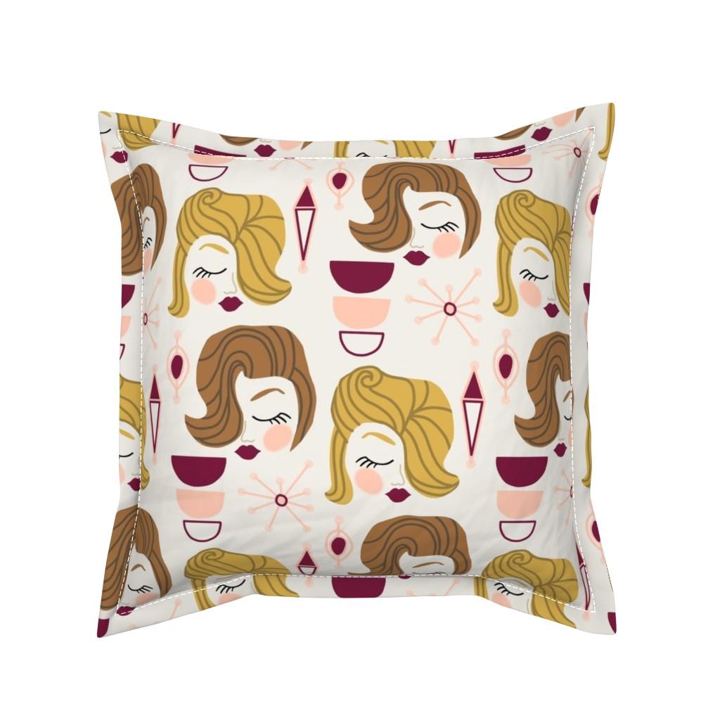 Serama Throw Pillow featuring That 50's Feelin' by kelly_korver