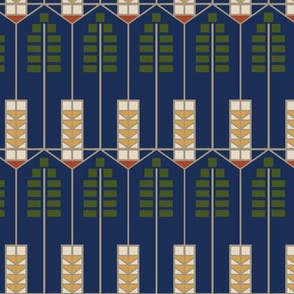 Prairie Vine, navy with green
