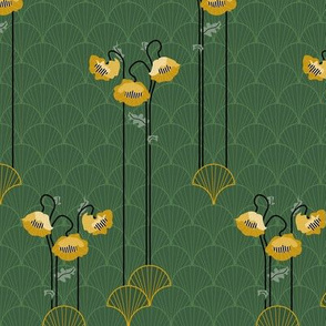 green scallops and gold poppies