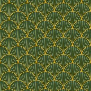 art nouveau green yellow scallop