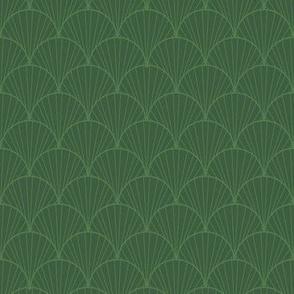 art nouveau green scallop