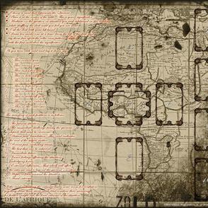 Vintage Map Tarot Layout Cloth
