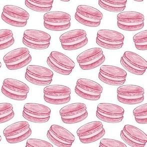 Macarons - Pink on White - Medium