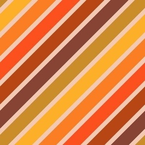 Retro Diagonal Stripes in Orange Ombre
