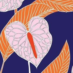 art nouveau anthuriums - indigo