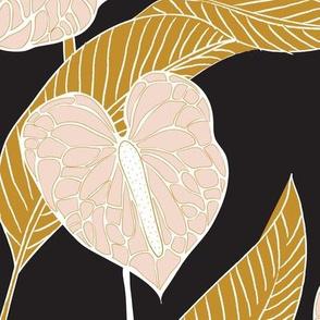 art nouveau anthuriums - black mustard and pale peach