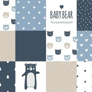 Baby bear patchwork- blue/ beige/navy