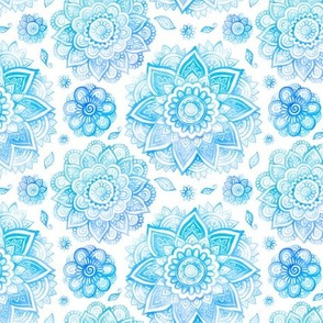 Blue watercolor floral mandala pattern