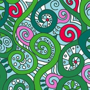 mod nouveau botanical dots and swirls
