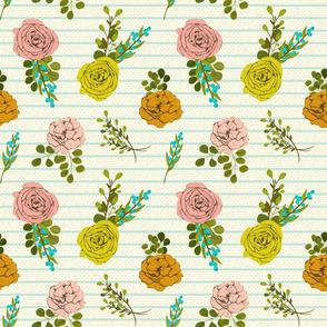 Vintage Florals on Stripes
