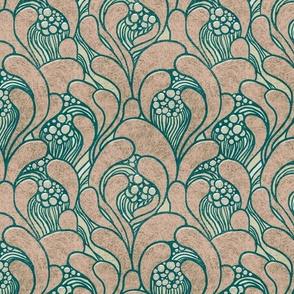 Art Nouveau floral waves subtle colors