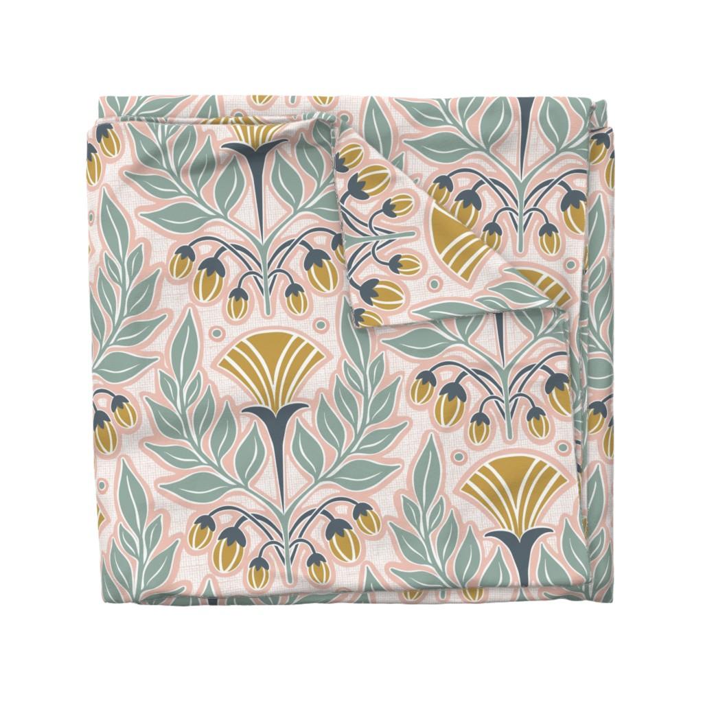 Wyandotte Duvet Cover featuring La Floraison Blush Pink Art Nouveau Floral Jumbo Scale by heatherdutton