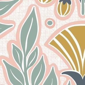 La Floraison Blush Pink Art Nouveau Floral Jumbo Scale