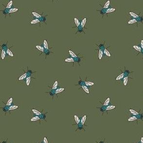 Flies on dark green