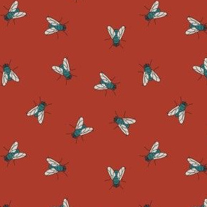 Flies on red
