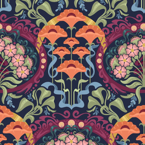 Art Nouveau Poppies in Dark Blue and Orange