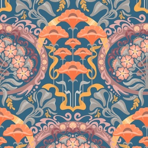 Art Nouveau Poppies in Gray Blue and Orange