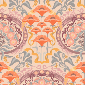 Art Nouveau Poppies in Cream and Mauve