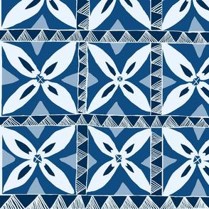 Tropical Samoa flowers-  Classic Blue Shades 42x24