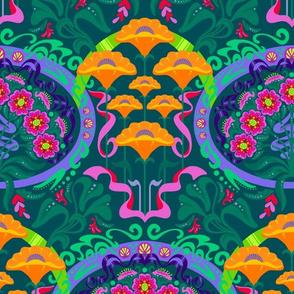 Tropical Art Nouveau Poppies